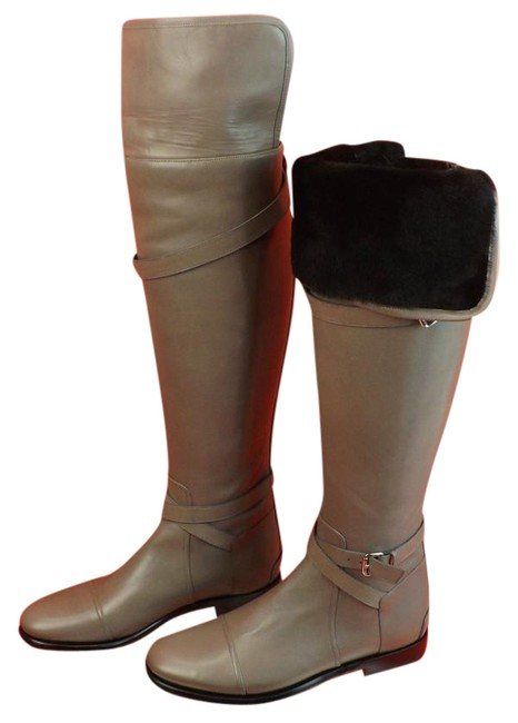 Item - Gray Taupe Leather Belt Riding Over The Knee Shearling Boots/Booties Size EU 40 (Approx. US 10) Regular (M, B)