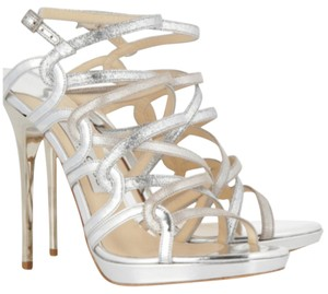 Jimmy Choo Glitter Katemiddleton Sandals Silver Silver Metallic Formal