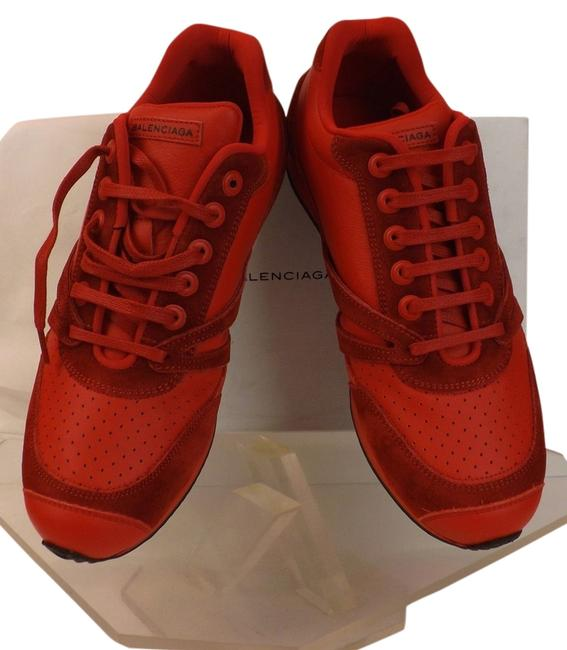Item - Red Perforated Leather Suede Logo Trainers 40 Sneakers Size US 9 Regular (M, B)