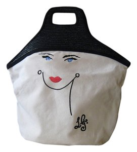 Lulu Guinness Stylish Rare Vintage Collector & Tote in Black and white