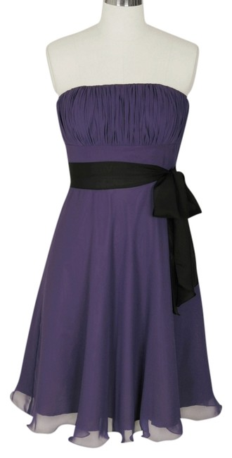 Preload https://img-static.tradesy.com/item/680171/purple-strapless-chiffon-pleated-bust-w-sash-knee-length-formal-dress-size-6-s-0-0-650-650.jpg