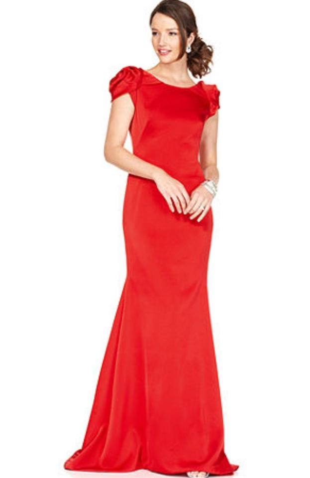 JS Collections Red Polyester Cap Sleeve Open Back Evening Gown ...