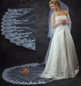 J.L. Johnson Bridals Two Layer Cathedral Length Lace Wedding Veil