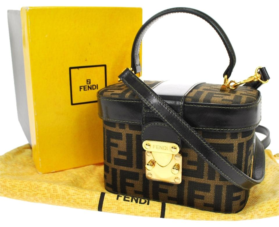 Fendi Zucca Pattern 2way Hand Vintage Italy Box S02208 Brown Nylon ... 9adffb1d30ae