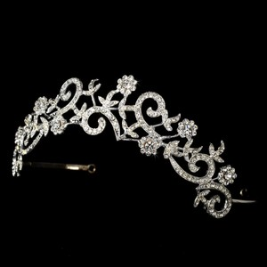 Floral Swirl Wedding Bridal Tiara