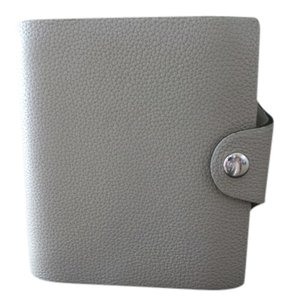 Hermès AUTH HERMES HERMS LEATHER ETOUPE GRAY GREY ULYSSE MINI NOTEBOOK LEATHER