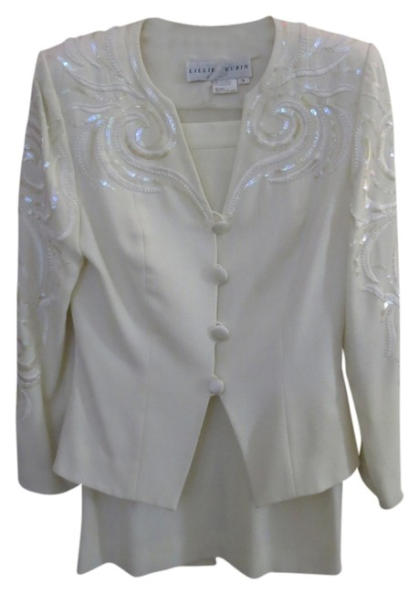 Lillie Rubin Vintage Lillie Rubin 2pc Beaded and Sequined Creme Suit
