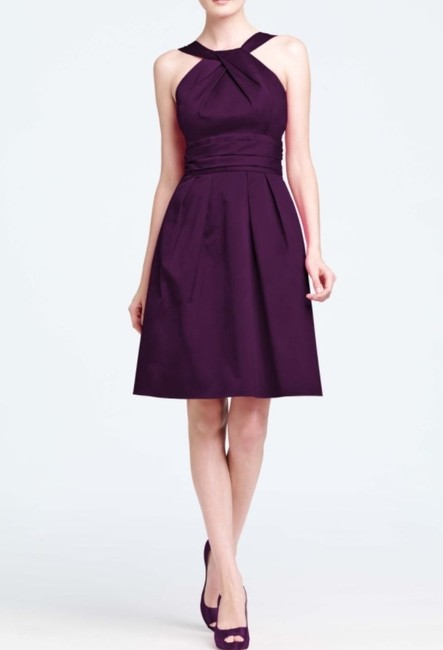 Item - Plum Cotton 83690 Short Y-neck and Skirt Pleating Style Modern Bridesmaid/Mob Dress Size 4 (S)