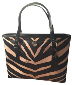Coach Tote in Black and cream zebra