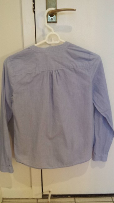 Ann Taylor LOFT Ruffle Button Down Top Blue