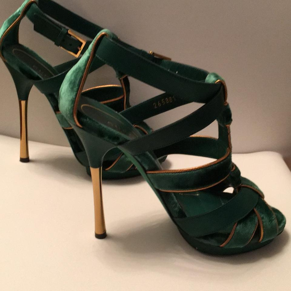 b264cb866 Gucci Velvet Piped Heel Sandals Gold Leather Green Platforms Image 5. 123456