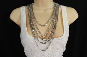 Other Women Fashion Long Necklace Silver Metal Chain Link Strands Trendy Jewelry