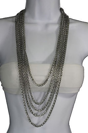 Other Women Fashion Long Necklace Silver Metal Chain Link Strands Trendy Jewelry Image 1
