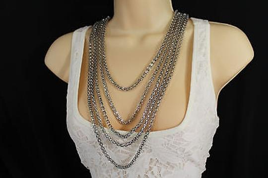 Other Women Fashion Long Necklace Silver Metal Chain Link Strands Trendy Jewelry Image 11