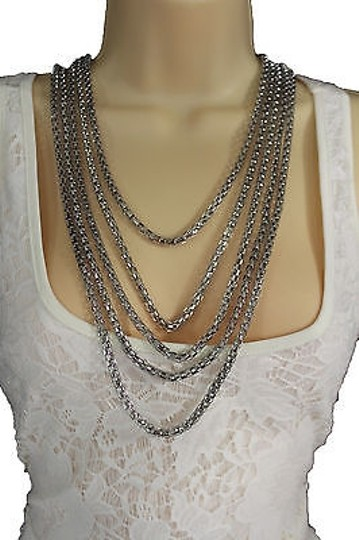 Other Women Fashion Long Necklace Silver Metal Chain Link Strands Trendy Jewelry Image 2