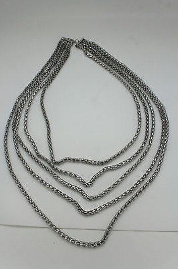 Other Women Fashion Long Necklace Silver Metal Chain Link Strands Trendy Jewelry Image 3