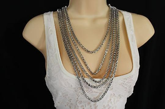 Other Women Fashion Long Necklace Silver Metal Chain Link Strands Trendy Jewelry Image 4