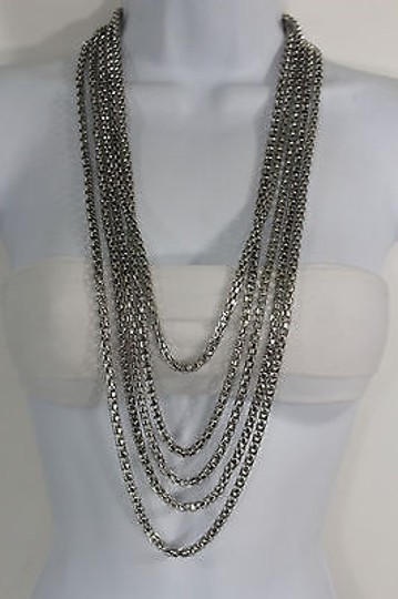 Other Women Fashion Long Necklace Silver Metal Chain Link Strands Trendy Jewelry Image 5