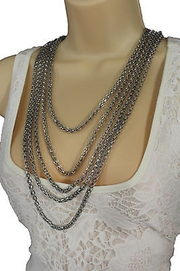 Other Women Fashion Long Necklace Silver Metal Chain Link Strands Trendy Jewelry Image 6