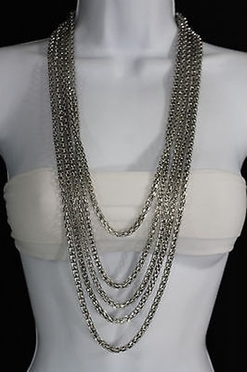 Other Women Fashion Long Necklace Silver Metal Chain Link Strands Trendy Jewelry Image 7
