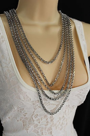 Other Women Fashion Long Necklace Silver Metal Chain Link Strands Trendy Jewelry Image 9