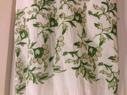 BHLDN Ivory with Green and Gold Silk Linen Shell. Silk Charmeuse Lining. Frondescence Casual Wedding Dress Size 4 (S) Image 1