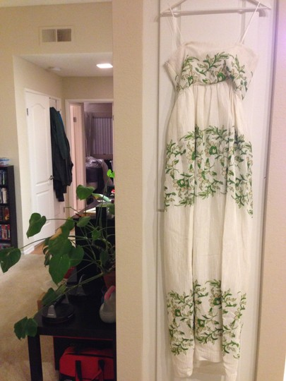 BHLDN Ivory with Green and Gold Silk Linen Shell. Silk Charmeuse Lining. Frondescence Casual Wedding Dress Size 4 (S) Image 2