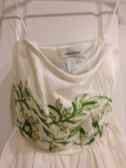 BHLDN Ivory with Green and Gold Silk Linen Shell. Silk Charmeuse Lining. Frondescence Casual Wedding Dress Size 4 (S) Image 3