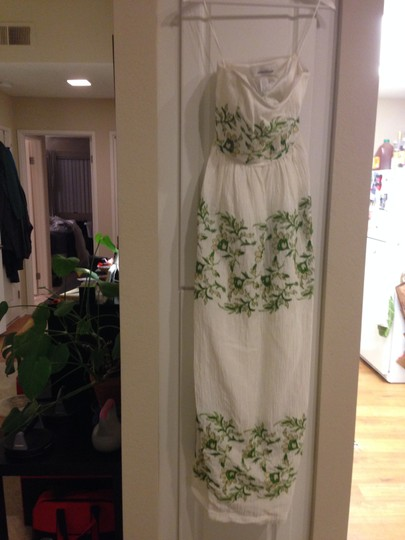 BHLDN Ivory with Green and Gold Silk Linen Shell. Silk Charmeuse Lining. Frondescence Casual Wedding Dress Size 4 (S) Image 4
