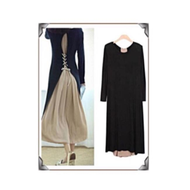 Black w Nude/PALE Pink Maxi Dress by IT's SIMPLE PERFECTION Image 3