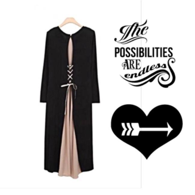 Black w Nude/PALE Pink Maxi Dress by IT's SIMPLE PERFECTION Image 4