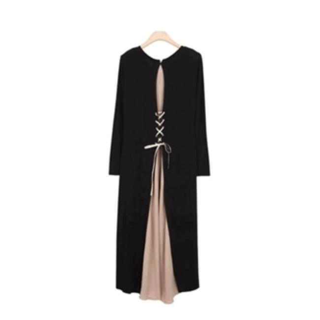 Black w Nude/PALE Pink Maxi Dress by IT's SIMPLE PERFECTION Image 5