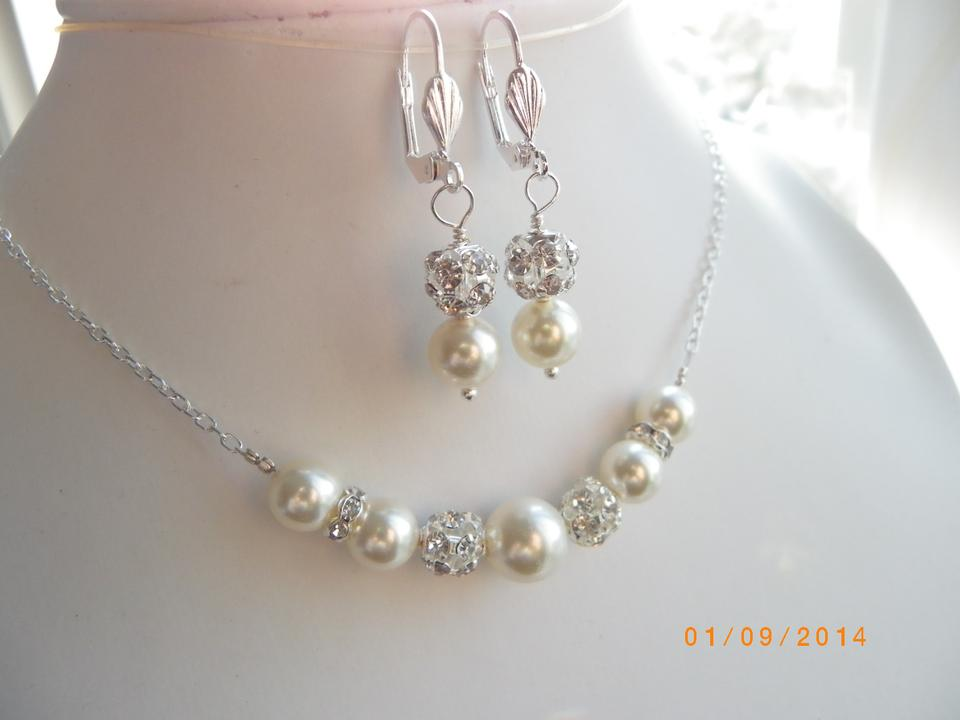Handmade Pearl Bridal Jewelry Set Necklace And Earrings