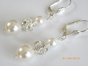 Other White Swarovski Pearl Rhinestone Ball Bridal Earrings