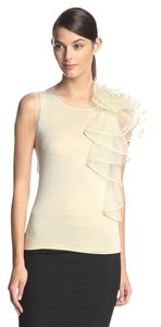 Valentino Couture Silk Tulle Rose Detail T Shirt Beige