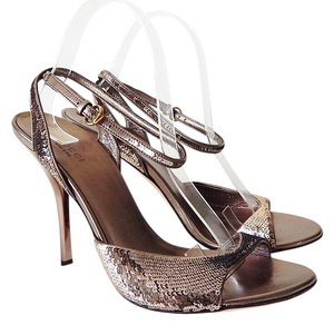 Gucci Ankle Strap Sequin Silver Sandals