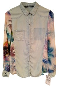 Zara Buttonup Tropical Button Down Shirt denim