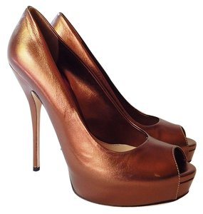Gucci Peep Toe Leather Metallic Stiletto Bronze Pumps