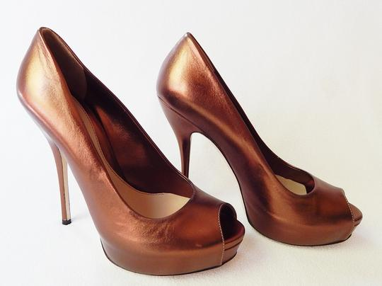 Gucci Peep Toe Leather Metallic Stiletto Bronze Pumps Image 3