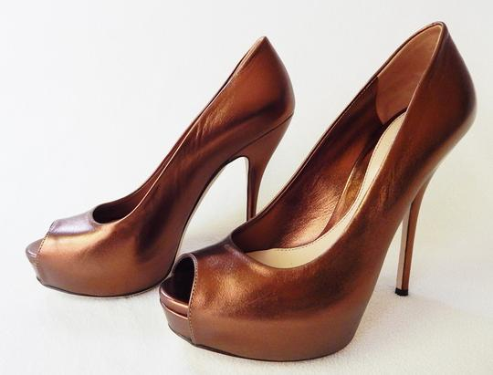 Gucci Peep Toe Leather Metallic Stiletto Bronze Pumps Image 4