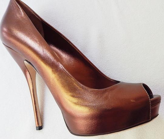 Gucci Peep Toe Leather Metallic Stiletto Bronze Pumps Image 5
