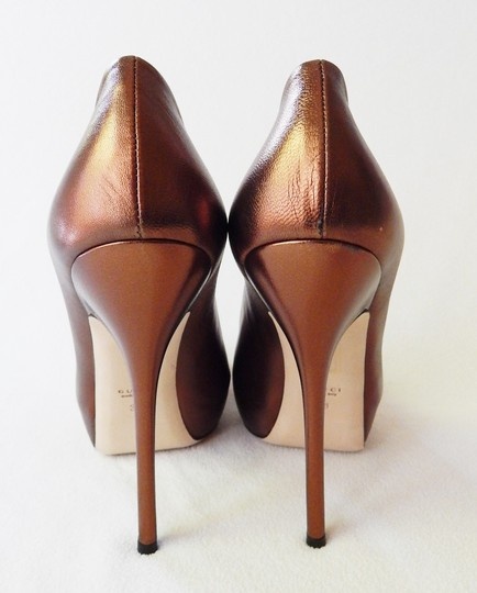 Gucci Peep Toe Leather Metallic Stiletto Bronze Pumps Image 7