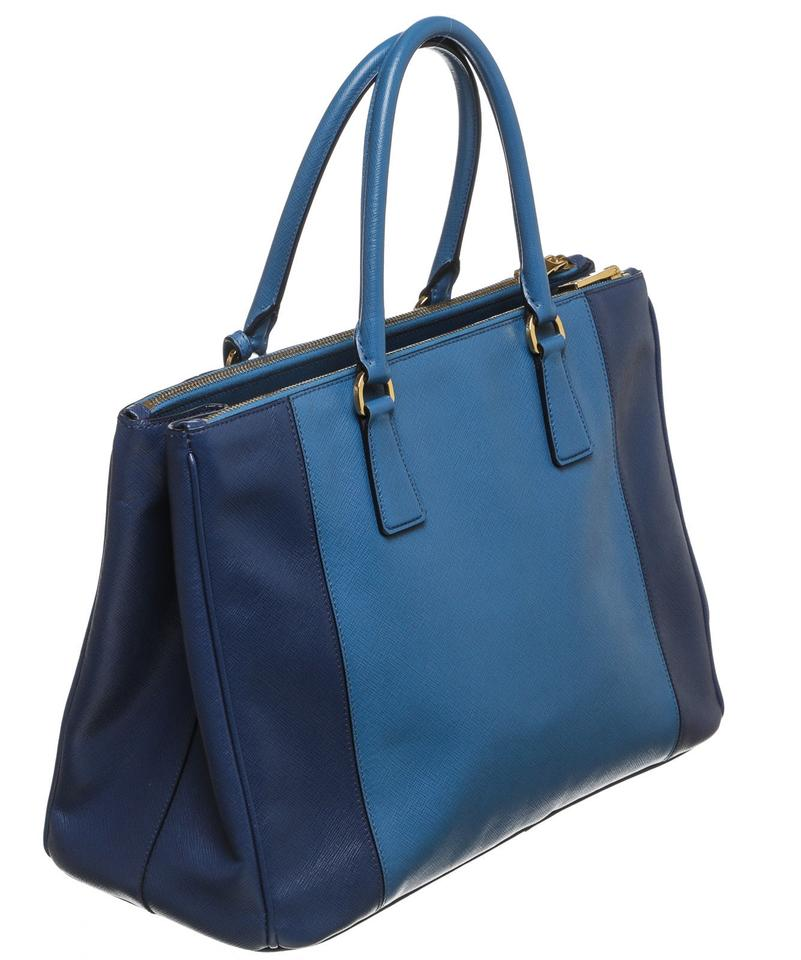 Prada Lux Two-tone Saffiano Handbag Blue Leather Tote - Tradesy fb9f3ee2b2c9c