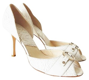 Dior Leather Peep Toe Pump Open Toe White Sandals