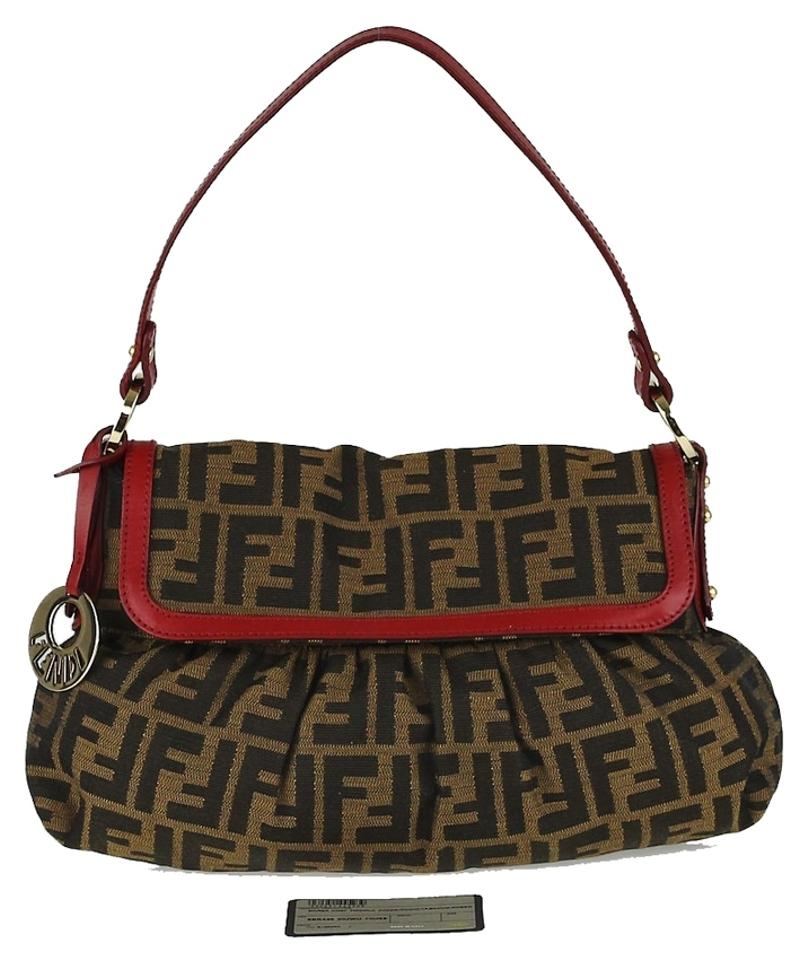 28ad5d1ead54 Fendi Print Small Chef Italy Tobacco Red Zucca Canvas with Leather Trim  Shoulder Bag