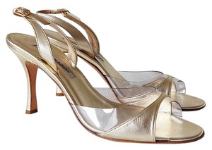 Manolo Blahnik Leather Slingback Open Toe Transparent / Gold Sandals