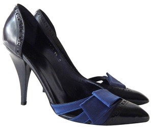Gucci Pointed Toe Satin Leather Blue Pumps