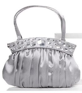 Satin Silver Evening Purse