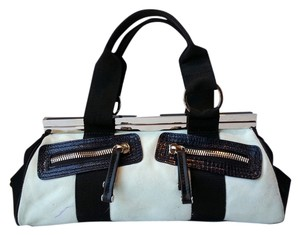 Gianfranco Ferre Color Block Black And White Suede Nylon Ykk Zippers Geometric Architecutral Silver Hardware Satchel in Black/White