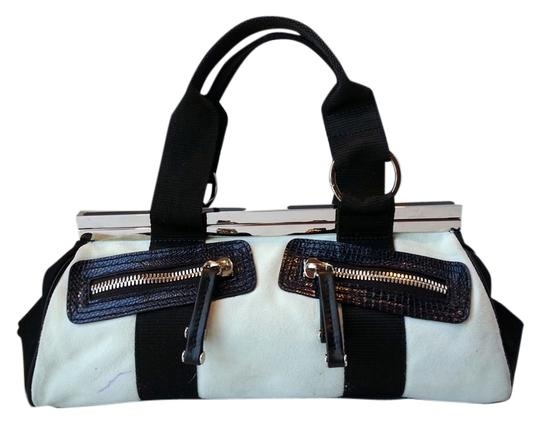 Gianfranco Ferre Color And Suede Nylon Ykk Zippers Geometric Architecutral Silver Hardware Satchel in Black/White Image 0